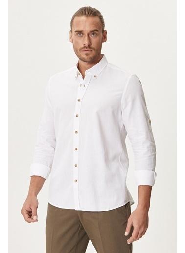 AC&Co / Altınyıldız Classics Tailored Slim Fit Dar Kesim Düğmeli Yaka Keten Gömlek 4A2021200036 Beyaz